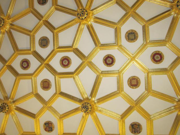 Ceiling of the Great Watching Chamber, where members of the Yeoman of the Guard would watch and control access to Henry VIII's state apartments.